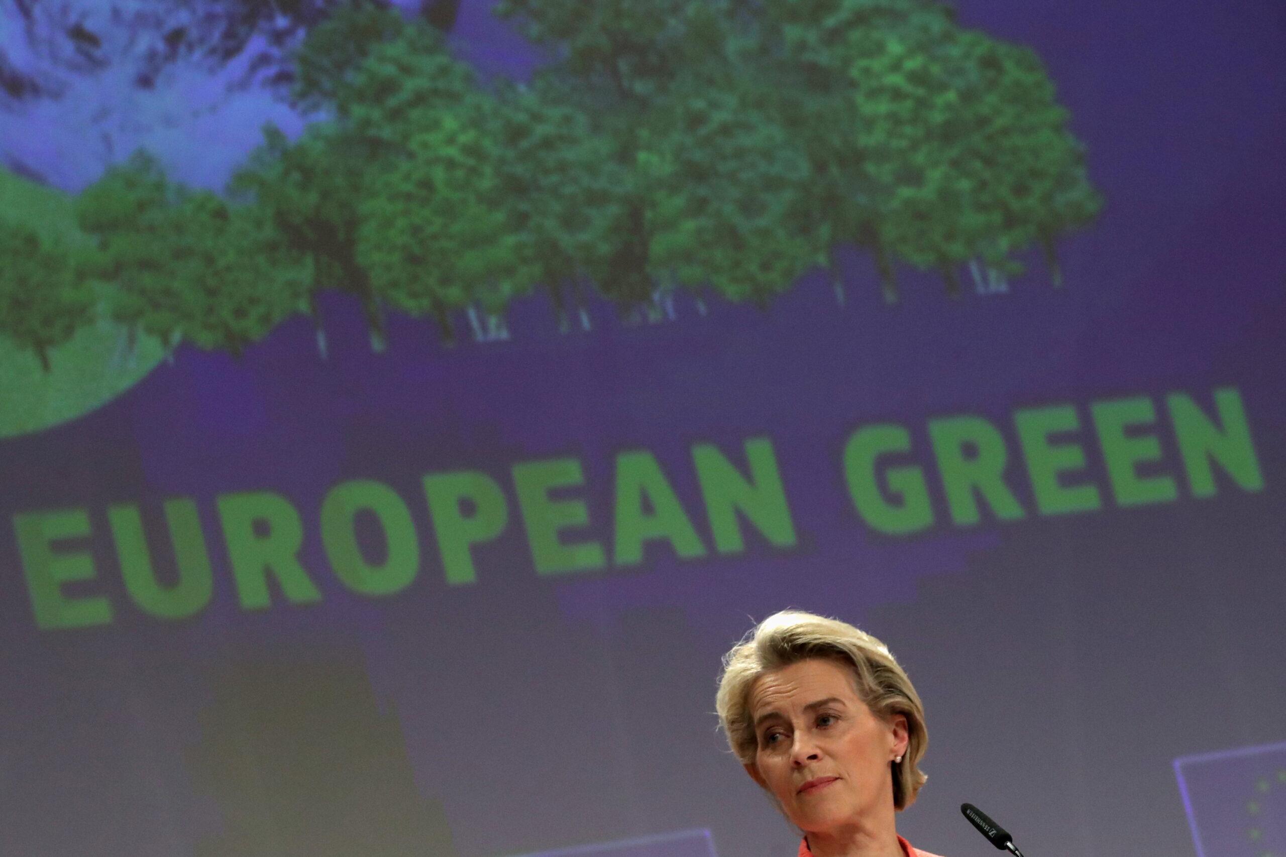 Presidente da Comissão Europeia, Ursula von der Leyen, durante lançamento de plano climático da União Europeia em Bruxelas